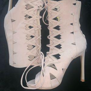 Fashion Nova Lace Up Heels in Blush